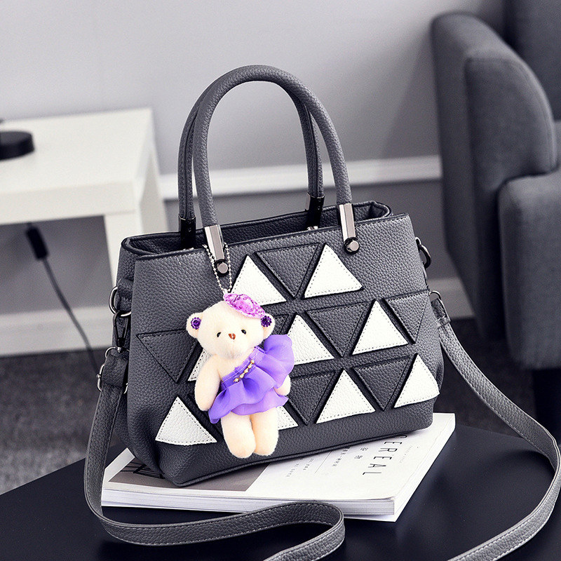 Elegant Casual PU Women Shoulder Bag Fashion Office Lady Handbag White Triangle Leather Decoration Dark Grey Crossbody