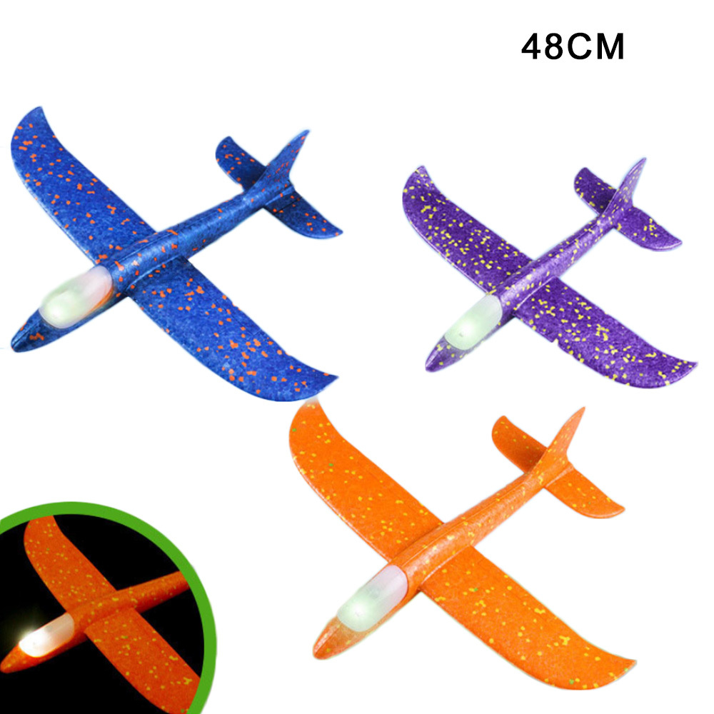 Airplane Foam Toys With LED Light Throwing Glider Inertia DIY Aircraft Children's Model Toy image
