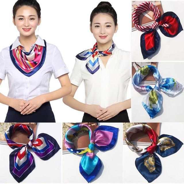 2019 New 50*50CM Small Soft Silk Scarf Women For Flight Attendant Fashion Bandana Women Head Scarf Elegant Shawl Scarfs