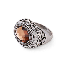 Retro Vintage Brown Glass Crystal Ring Fashion Jewelry Antique Silver Plated Alloy Rings For Women