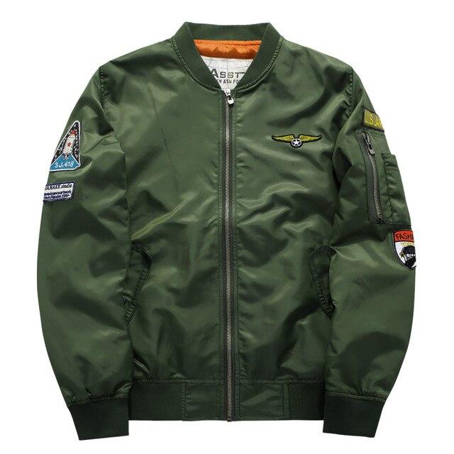 0d87195b0 US $18.39 12% OFF|Asstseries 2019 New brand bomber Jacket men Women Pilot  MA1 Military Motorcycle Flight Bomber Jacket Air Force One Men Coats-in ...