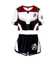 The Avengers Endgame Quantum Cosplay Two Piece Set Women MARVEL Shorts Skirt Set Spider-Man Iron Man Summer Clothes For Women(China)