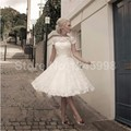 2016 New White Lace A-Line Tea-Length Wedding Dress Bridal Gown vestido de noiva Robe De Mariage casamento wedding gowns
