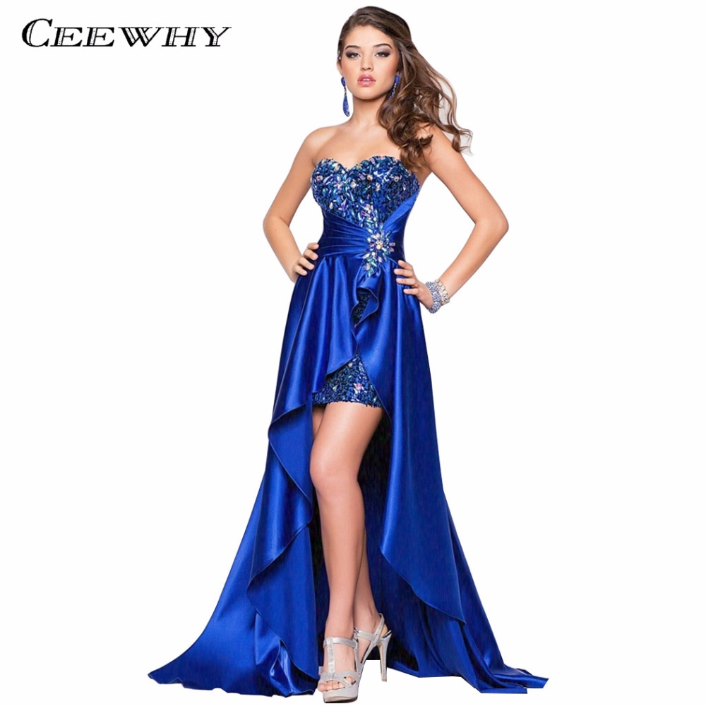 Buy Cheap Satin Sweetheart Women Formal Gowns Crystal 2017 Evening Dresses Long Asymmetrical Court Train Mermaid/Trumpet Dress Sequined