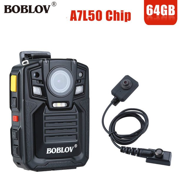 BOBLOV HD66-02 HD 1296P 33MP Police Security Camera Ambarella A7L50 HDMI Body Mini Camera 64GB Night Vision With External Lens