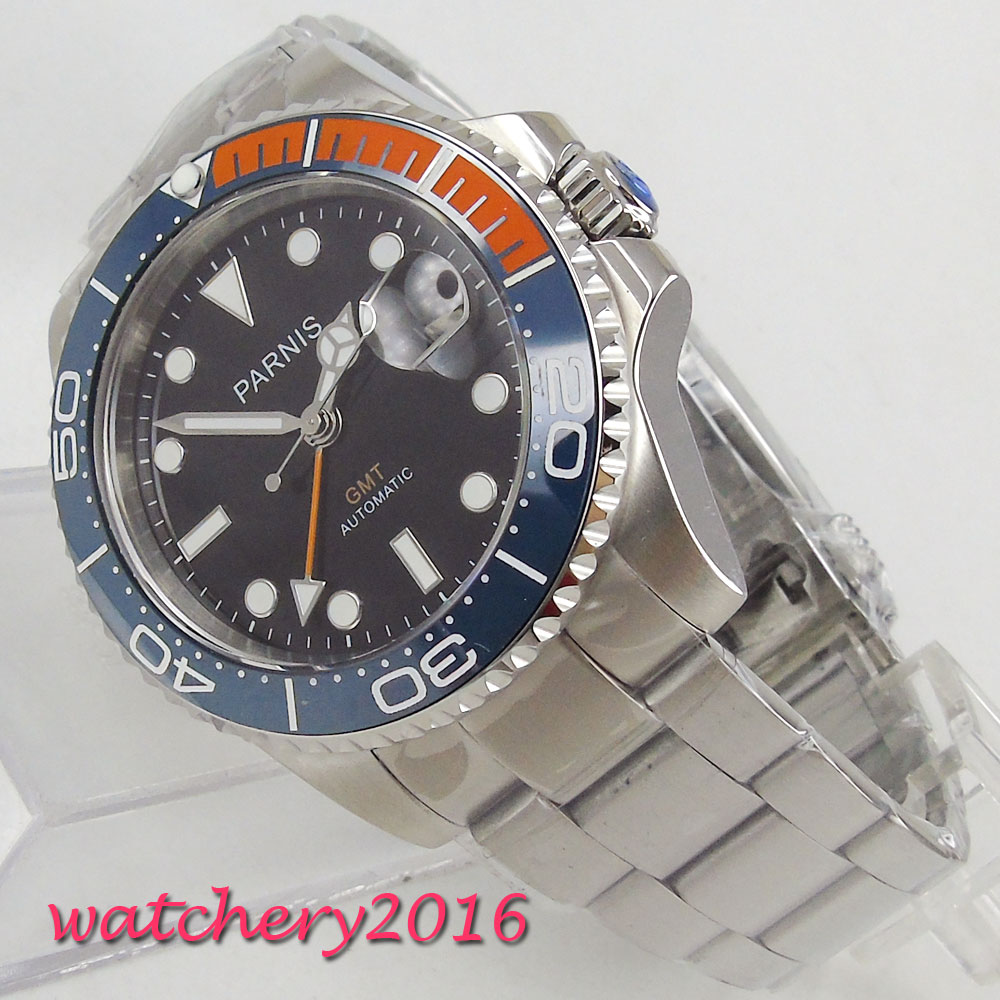 лучшая цена Parnis 40mm Mechanical Watches GMT Blue Red Ceramic Bezel Diver Watch Automatic Stainless Steel Sapphire Role Luxury Watch Men