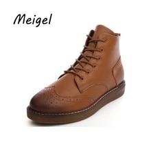 Meigel Women Fashion Platform Oxfords Patent Leather Shoes Female Autumn Platform Ankle Boots Woman Lace Up Casual Boots 508