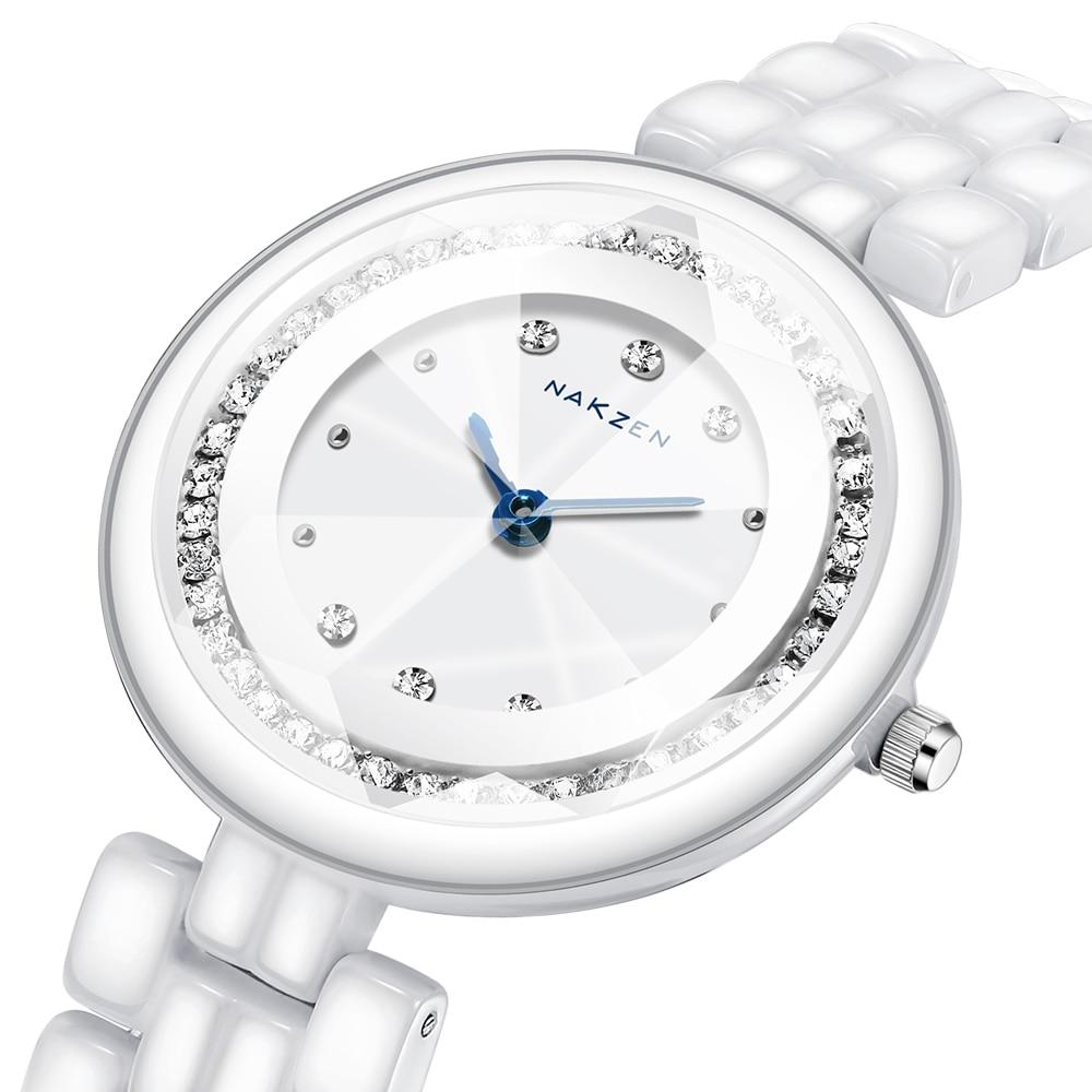 NAKZEN Ladies High Quality Ceramic Bracelet Women Watch Famous Luxury Brand Fashion Diamond Women's Quartz Watch For Gifts Clock