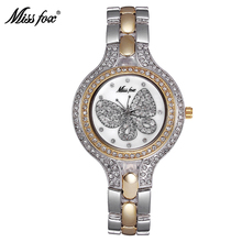 Miss Fox 37mm Watch Fashion Gold Butterfly Diamond Teenage Girls Watches Women Stainless Steel Back Water resistant Golden Clock