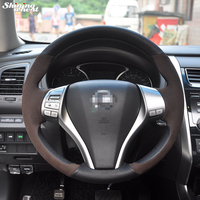 Hand Stitched Brown Suede Black Leather Steering Wheel Cover For Nissan 2013 Teana 2014 X Trail