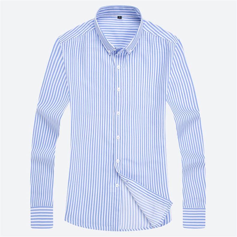 5XL Plus Large Size Striped Shirts Men Long Sleeve Casual Autumn Spring Classic Male Shirts Non-Iron Dress Shirts Man Muls Brand 12