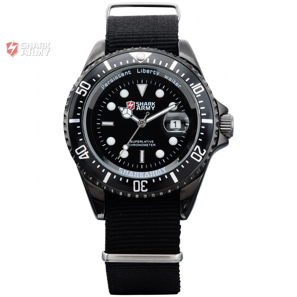 SHARK ARMY Date Display Black Stainless Steel Case Nylon Strap Mens Quartz Sports Wrap Gift Analog
