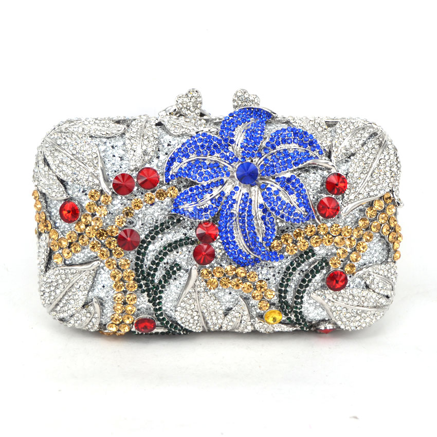 Womens Luxury Crystal Clutch Bag Flowers Evening Purse and Crystal Box Clutches and Handbags for Party Wedding Prom Bridal 88165 newest fashion women evening bag luxury 3 colours radient rhinestone clutch purse crystal handbag party and wedding wallet