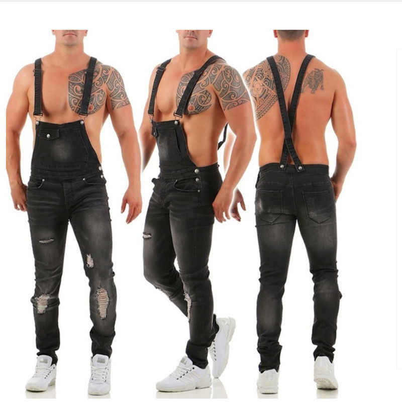 2019 Menjeans ドロップ配送カジュアル快適オーバーオール男性のデニム大工パンツホット販売男性穴パンツビッグサイズ S-3XL