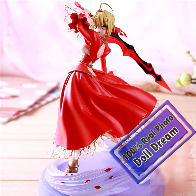23CM Japanese Classic Anime Fate Stay Night Fate/EXTRA Ver. Red Saber PVC Action Figure Collection Model Toy japanese anime fate stay night saber lily 1 7 pvc action figure japanese anime girl resin collection model toy gifts