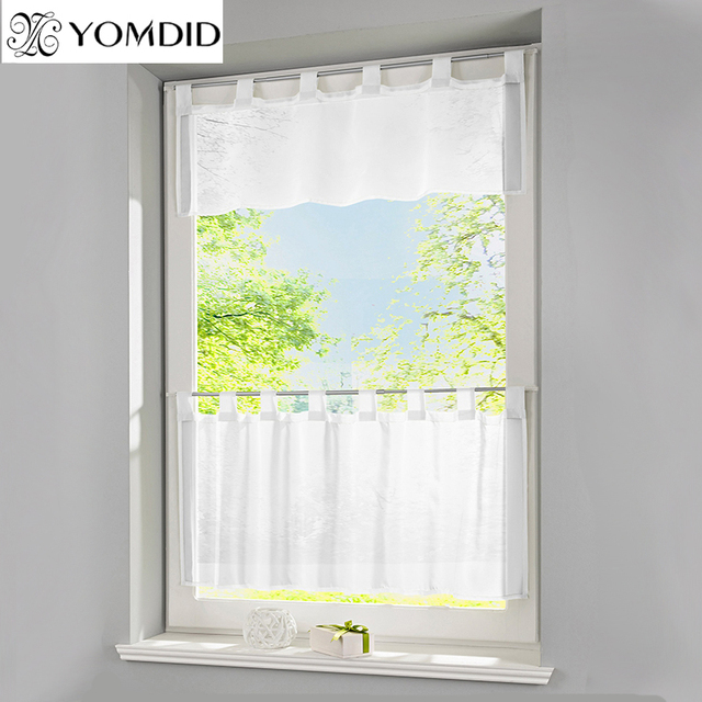 Solid Half Curtain Window Valance Coffee Tulle Curtains White Color Short Tab Tape