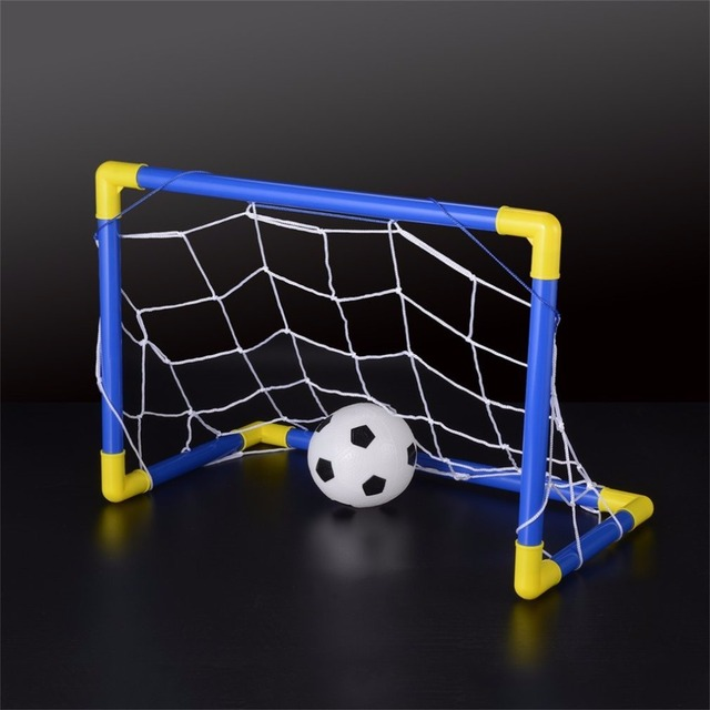 Folding Mini Football Soccer Goal Post Net Set with Pump Kids Sport Indoor Outdoor Games Toys Child Birthday Gift Plastic