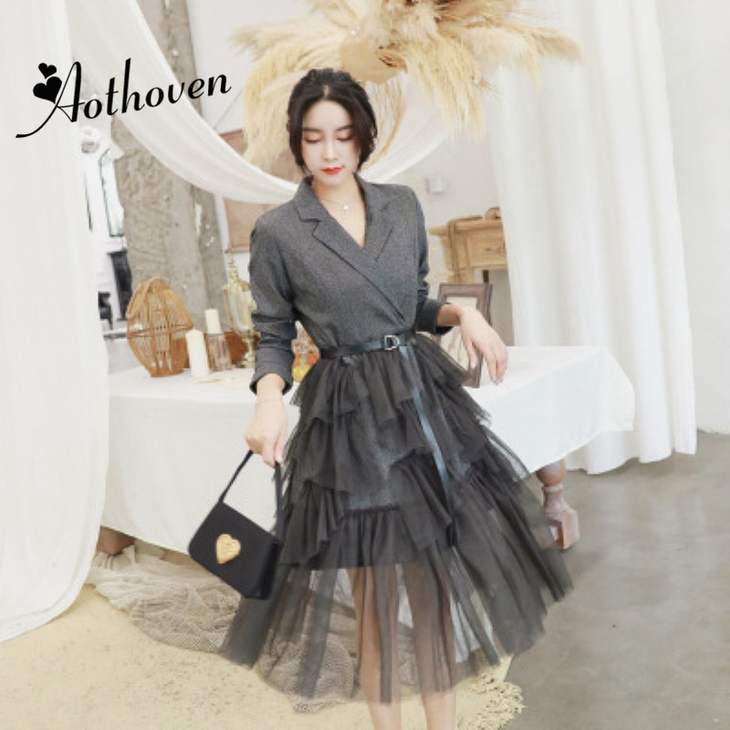 Autumn Patchwork Cascading Ruffle A Line Dresses Turn down Collar Long Sleeve Women Dress Elegant Lady