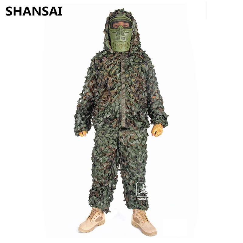 SHANSAI Bionic Ghillie costumes feuilles rayures Camouflage chasse costume Recon photographie militaire