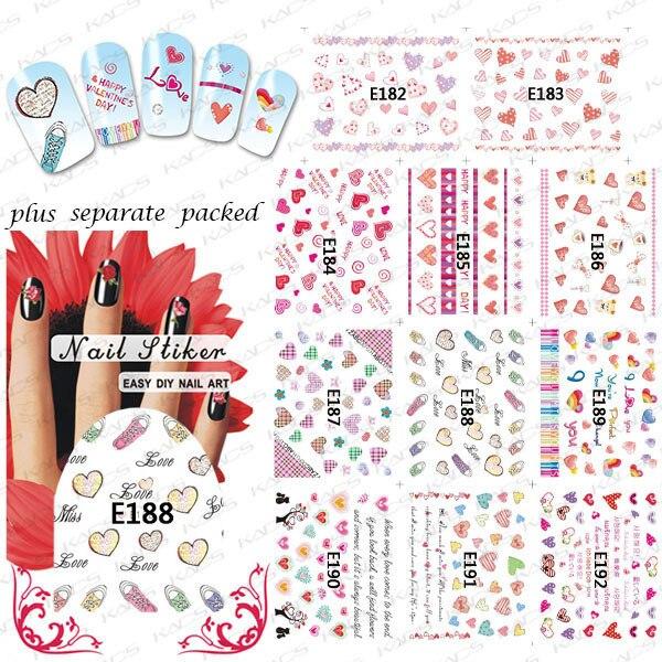 2015 NUEVO 50 Unids/lote 3D E182-192 Manicura 3D etiqueta Manicura especial 3D pegatinas de uñas de color amor cartas de amor