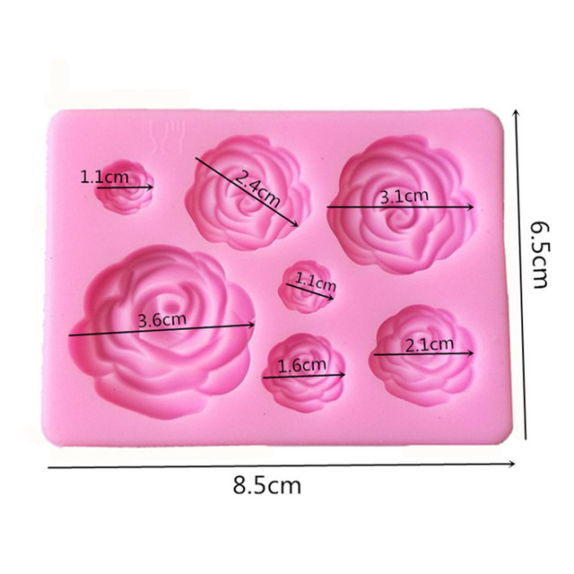 1PC Rose Flowers Shaped Fondant Silicone Mold Craft Chocolate Baking Mold Cake Decorating Tools kitchen Pastry Tool L031