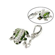 Free Shipping Cute Frog USB Flash Drive 32GB Diamond Pen Drive 16GB 8GB 4GB 2GB 128MB Pendrive Memory Sticj USB 2.0 U Disk