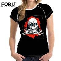FORUDESIGNS Harajuku Mujeres Camisetas Ropa Metallica Heavy Metal Rock Hip Hop Camiseta Del Cráneo Impresiones de Las Mujeres Negro Corto T camisa