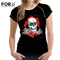 FORUDESIGNS Harajuku Women T Shirts Heavy Metal Rock Hip Hop Skull T Shirt Clothing Metallica Prints
