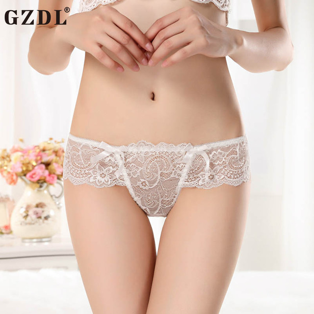 e9ac0f659e0 GZDL Sexy Lingerie Women Panties Ladies Briefs G-String Bow Floral Low  Waist Ruffles Transparent Lacy Intimates Hot Lot NY312