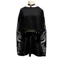 JOYINPARTY Gothic Dragon Embroidery Women's T shirt Long Sleeve Punk Sweatshirt Loose Short Sexy Girl Crush T shirts