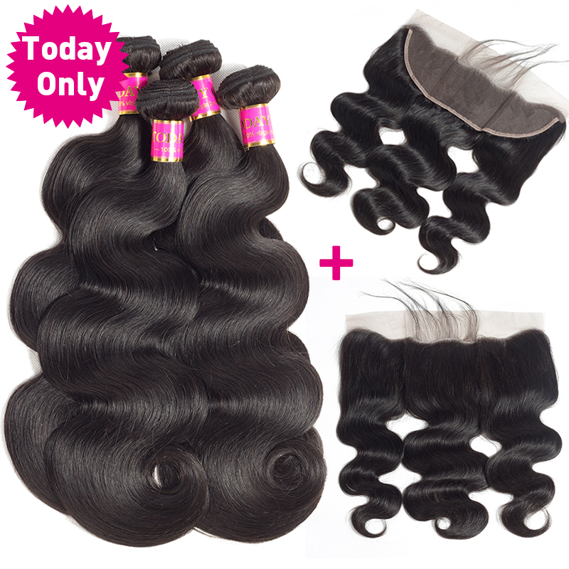 TODAY ONLY Malaysian Body Wave Bundles With Frontal Remy Human Hair Bundles With Frontal 13x4 Lace