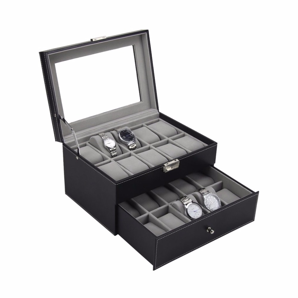 AOTU European American Fashion 20 Grids Slots Jewelry Watches Display Storage Box Case Watches Container Organizer Box
