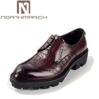 Northmarch бренд Топ классические Для мужчин Туфли без каблуков толстая подошва Обувь Бизнес ручной работы Кружево до натуральной кожи свет Удо