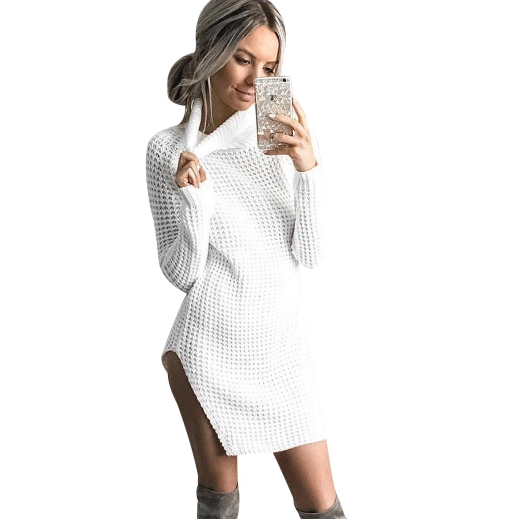 Sexy Turtleneck Knitted Sweater Women Long Sleeve Side Split Pullover Winter Spring Ladies Casual Long Sweaters Pull Femme Hiver