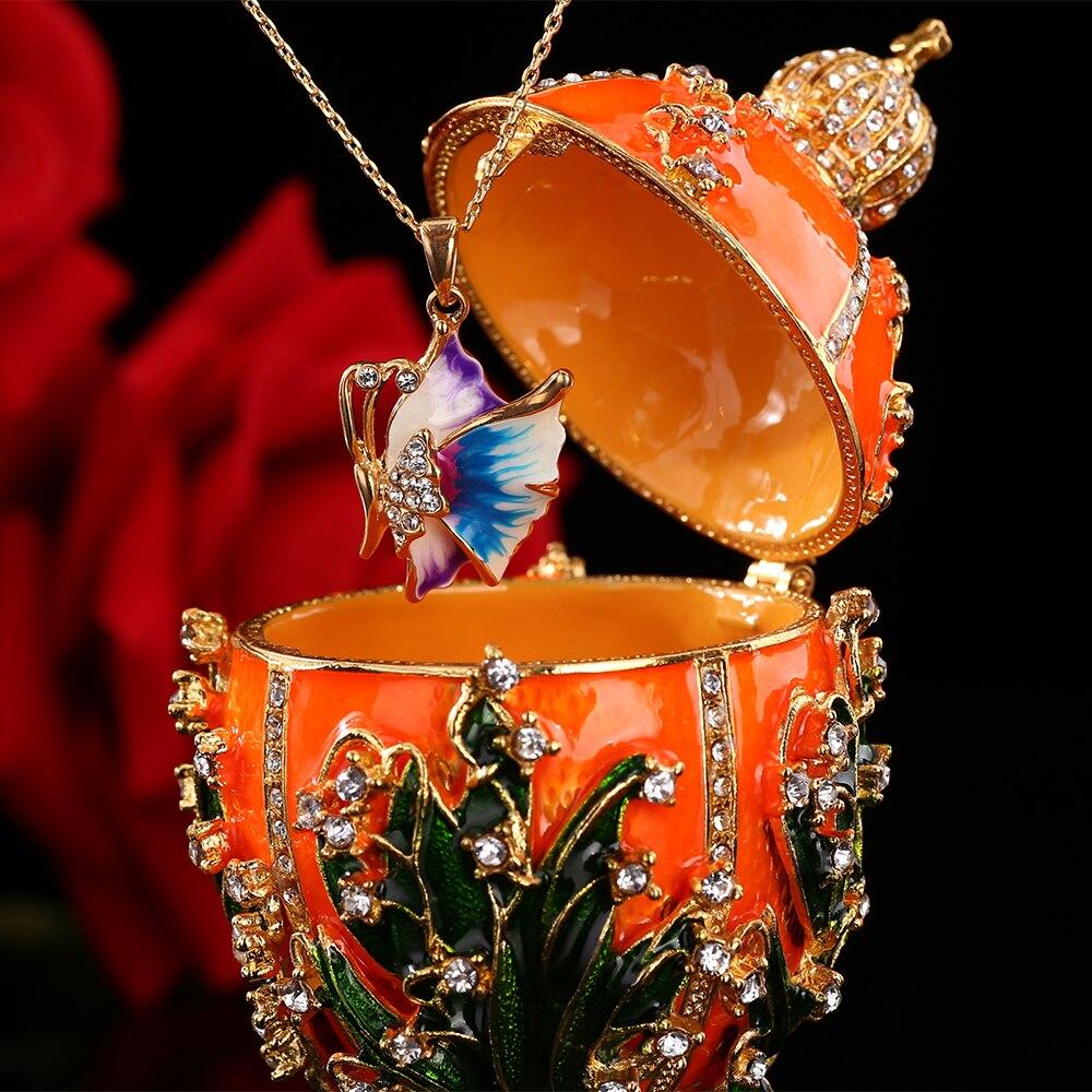 Купить с кэшбэком QIFU New Arrive Handicraft Metal Beautiful Faberge Egg for Trinket Box