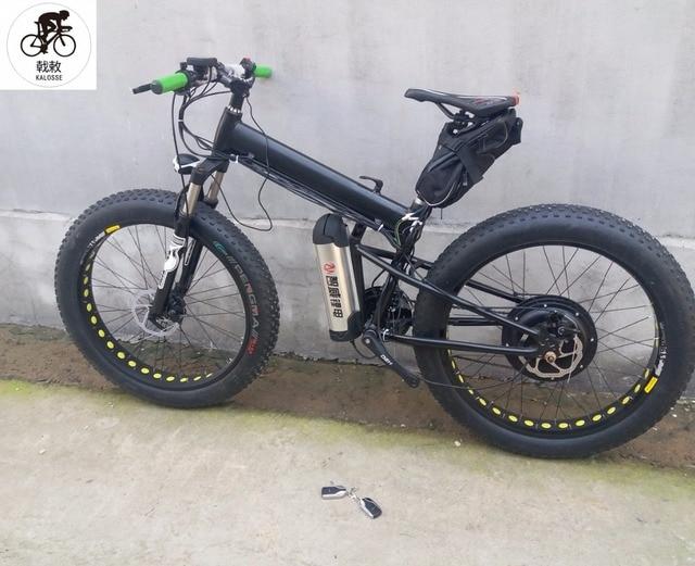 16c728a9e5b Kalosse Beach bicycle 48V 1000W Folding 27 speed electric fat bike 26*4.0  electrical snow