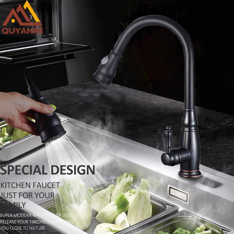 купить Quyanre Black Nickel Chrome Pull Out Kitchen Faucet 2-way Spray Single Handle Mixer Tap 360 Rotation Sprayer Torneira Cozinha по цене 3519.42 рублей