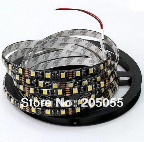 ПХБ черного цвета на каблуках высотой 5 м 5050 300 светодиодный SMD Водонепроницаемый IP65 12 В гибкие светодиодные полосы света 60 светодиодный/M-красный, синий, зеленый, холодный белый, теплый белый опциональ