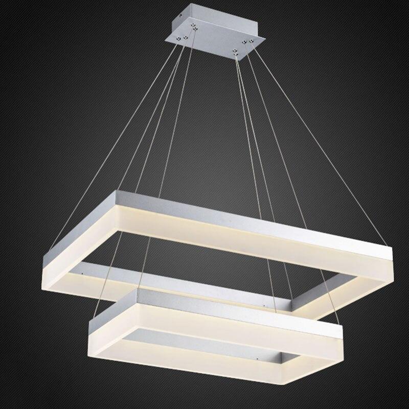 rectangular dining room light fixtures | Silver LED Pendant Light Modern Rectangle Black Pendant ...