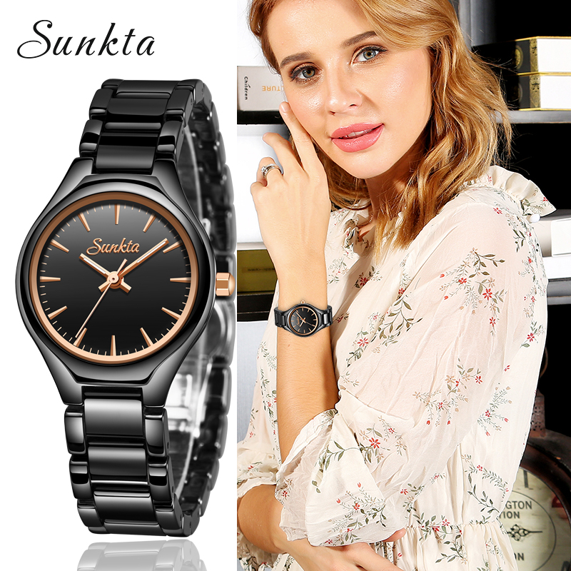 SUNKTA Fashion Simple All Black Ceramic Rose Gold Watches Women Waterproof Top Brand Luxury Women Watches Girl Quartz Clock+Box
