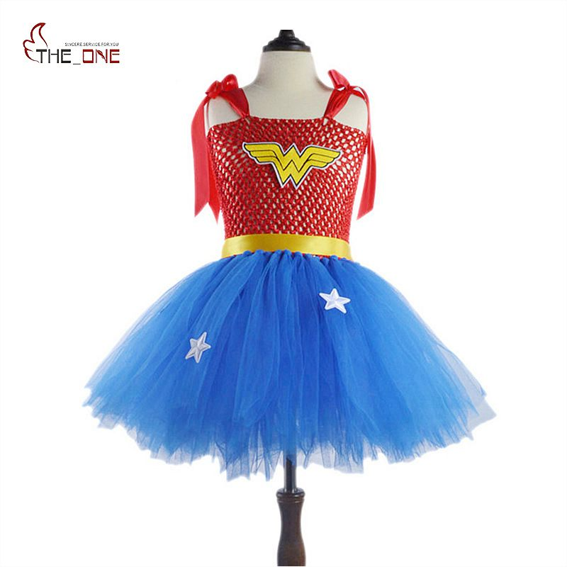 MUABABY Girls Wonder Woman Tutu Dress Kids Cosplay Costume Baby Dress Up Party Supply Girl Superhero