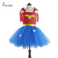 MUABABY Girls Wonder Woman Tutu Dress Kids Cosplay Costume Baby Dress Up Party Supply Children Superhero