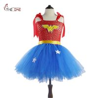 MUABABY Girls Wonder Woman Tutu Dress Kids Cosplay Costume Baby Dress Up Party Supply Children Superhero