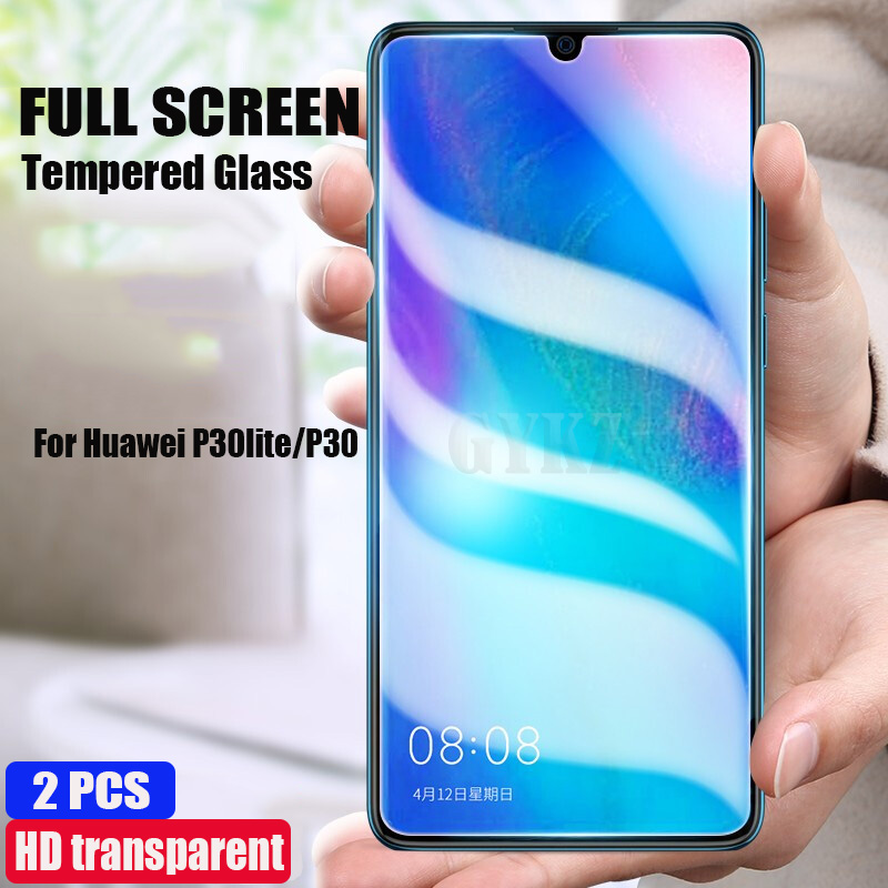 GYKZ2pcs Full Screen Tempered Glass For Huawei P30 Lite P30 Anti Blu-ray Full Coverage Protective Glass Film For Huaiwe P30 Lite