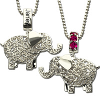 Wholesale Lucky Elephant Jewelry Custom Birthstone Elephant Necklace Name Necklace Silver Lucky Charm Best Birthday Gift