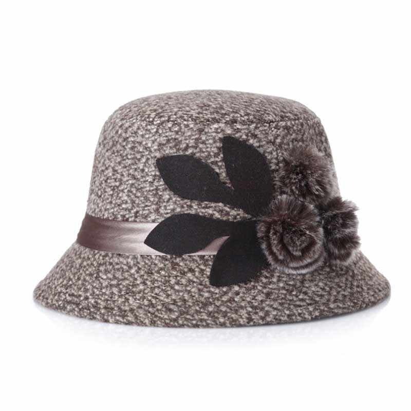 Elegante Partij Dames Fedora Vrouwen Hoed Dame Cap Winter Warme Muts vrouwen Faux Wollen Winter Warm Hoeden 2017 Caps 57-58 cm Mom Gift