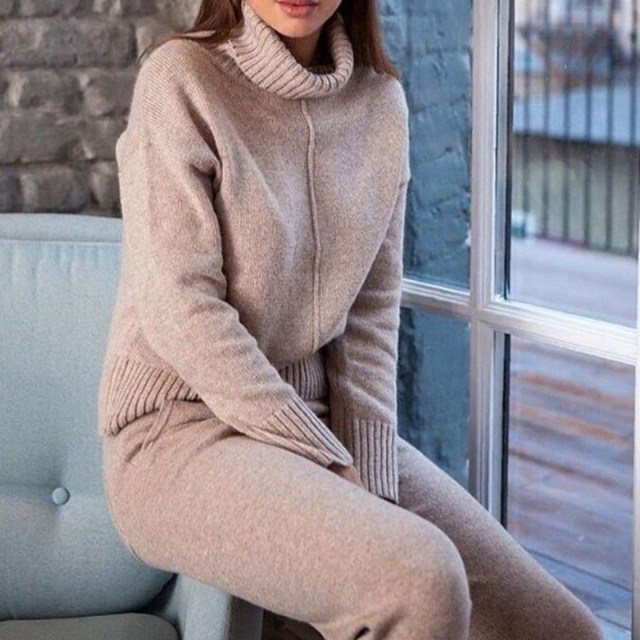 Women Winter Woolen And Cashmere Knitted Warm Suit Solid Turtleneck Sweater   Cashmere Pants Loose Two-Piece Set Knit