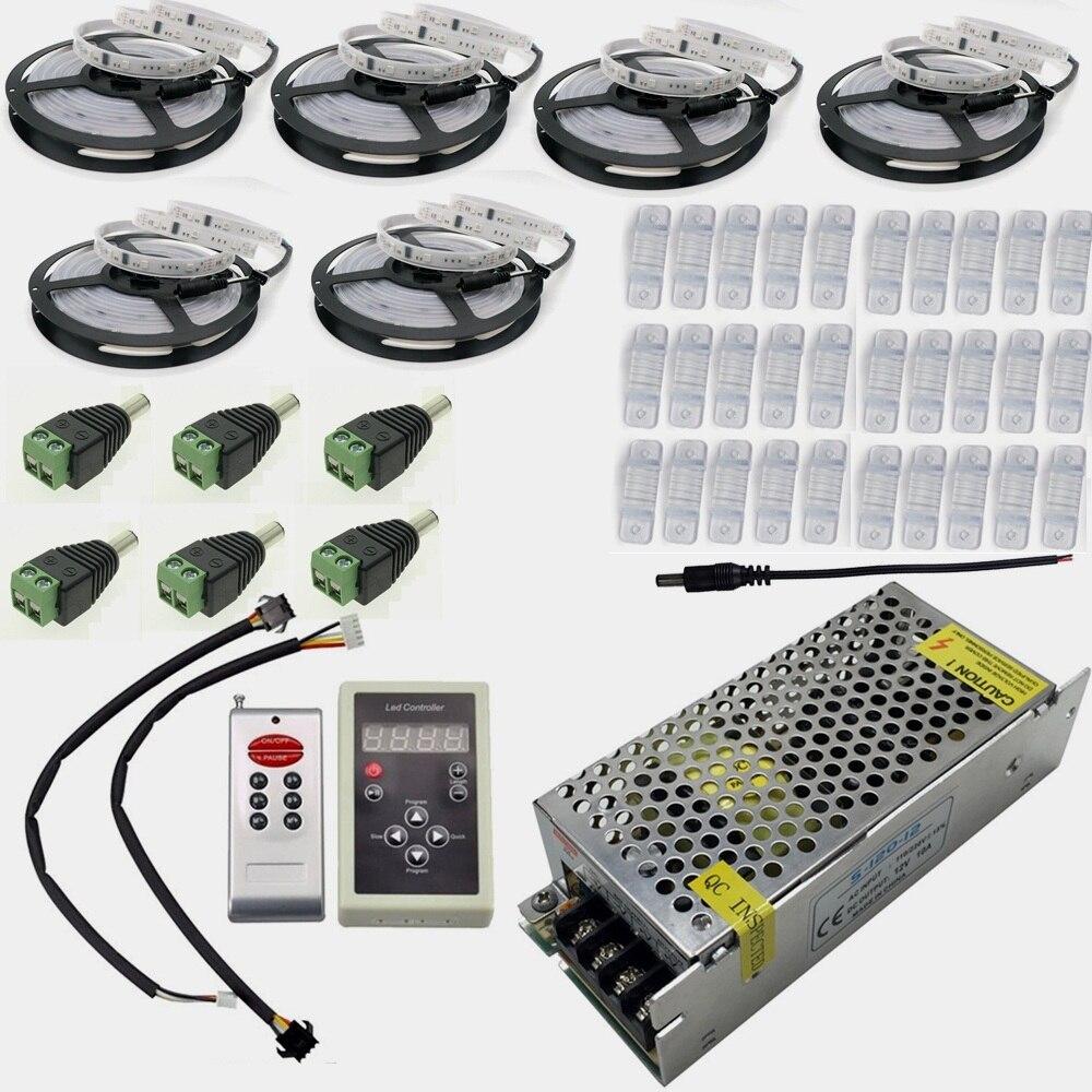 DC12V 5 m 10 m 20 M 30 m 150 LED IP67 étanche 6803 IC SMD 5050 RGB rêve magique bande LED couleur + 133 programme RF contrôleur