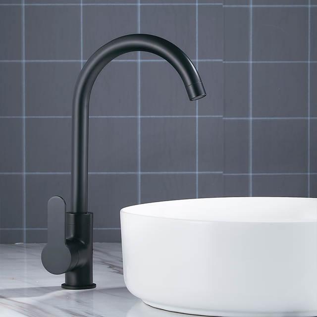 US $37.56 48% OFF|Moderne Becken Armaturen Schwarz Waschbecken  Mischbatterien Küche Bad Wasserhähne Einzigen Hebel Wasserhahn Schwarz  Becken Mixer in ...