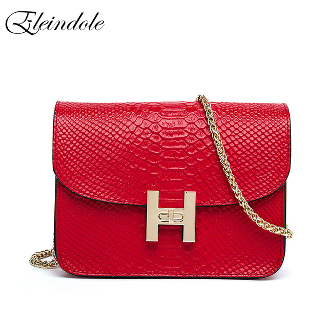 Eleindole 2017 New Genuine Leather Women Shoulder Bags Cross Body Bag Fashion Mini Chain Ladies Handbags Solid Women Handbag